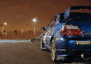 Impreza Posters - Subaru Impreza At Night Poster by David Lambertino