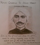 Freedom Fighter Drawings - Subramanya Bharathi by Gnaneswari Giridharagopalan