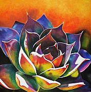 Close Up Painting Metal Prints - Succulent  Metal Print by Maribel Garzon