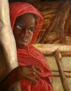 Tribal Art Paintings - Sudanese Girl by Enzie Shahmiri