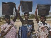 People Pastels Framed Prints - Sudanese women coming from the borehole Framed Print by Leonor Thornton