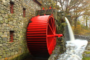Sudbury Prints - Sudbury Grist Mill Water Wheel Print by John Burk