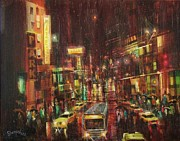 City At Night Paintings - Sudden Downpour Opening Night by Tom Shropshire