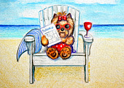 Yorkshire Terrier Watercolor Posters - Sudoku at the beach Poster by Catia Cho