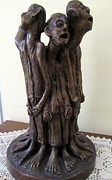 Sad Sculpture Framed Prints - Suffering Circle in Bronze sculpture men in rugs standing in a circle with suffering faces crying  Framed Print by Rachel Hershkovitz