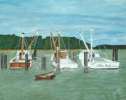 John Schuller Paintings - Suffolk Fishing Boats by John Schuller