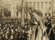 Dresses Metal Prints - Suffragist Lucy Branham Speaking Metal Print by Everett