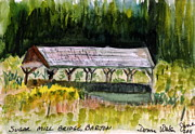 Covered Bridge Painting Metal Prints - Sugar Mill Covered Bridge in Barton VT Metal Print by Donna Walsh