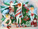 Christmas Card Drawings Posters - Sugar Plum Fairies Poster by Mindy Newman