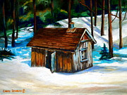 Winter Roads Painting Framed Prints - Sugar Shack Quebec Landscape Framed Print by Carole Spandau