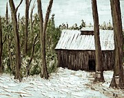 Snowy Trees Paintings - Sugar Shack by Reb Frost