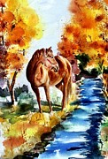Horse In Autumn Paintings - Sugar  by Sharon Mick
