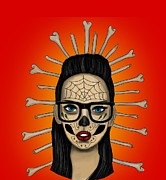 Nerdy Prints - Sugar Skull Girl Print by Niklas  Bates