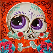 Sugar Skull Posters - Sugar skull in orange Poster by Jordana Hawen