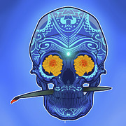 Trippy Digital Art Originals - Sugar skull by Nelson Dedos Garcia
