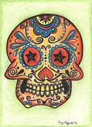 Sugar Skull Drawings Posters - Sugar Skull Poster by Tracy Fitzgerald