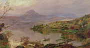 Fishing Painting Posters - Sugarloaf from Wickham Lake Poster by Jasper Francis Cropsey