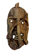 Tribal Art Sculptures - Sukhv2 Bana Tribal Mask by Sukhnandi Vyam