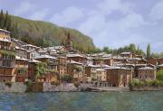Lake Painting Framed Prints - Sul Lago di Como Framed Print by Guido Borelli
