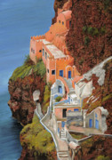Orange Painting Framed Prints - sul mare Greco Framed Print by Guido Borelli