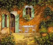 Green. Orange Framed Prints - Sul Patio Framed Print by Guido Borelli