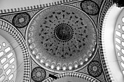 Classic Architecture Prints - Sulemaniye Mosque Dome in Black and White Print by Dean Harte