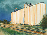 Gold Pastels Prints - Sullivan Elevator Ulysses KS Print by Tracy L Teeter