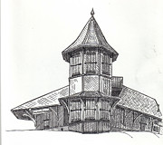 Train Station Drawings - Sulpher Springs Train Station by Lucy Foglietta 
