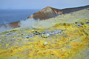 Fumarole Framed Prints - Sulphur and fumaroles smoke on Vulcano Island Framed Print by Sami Sarkis