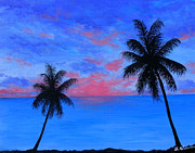 Trees At Sunset Paintings - Sultry Blue Persuasion by Amy Scholten