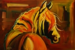 Abstract Equine Paintings - Sultry Equine by Diane Whitehead