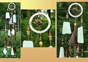 Tiger Glass Art - Sumatra Golden Tiger Eye Feng Shui Glass Crystal Wind Chime by Karen Martel