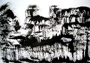 E Black Drawings Prints - Sumi-e 120726-1 Print by Aquira Kusume