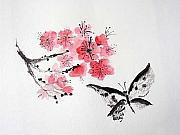 Plum Blossoms Paintings - Sumi -e Butterfly by Sibby S