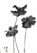 Sumie Framed Prints - Sumi e Poppies Framed Print by Sibby S