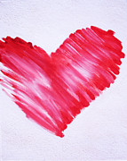 Red Heart Prints - Sumi Style Heart Print by Samantha Lockwood