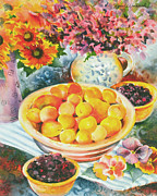 Peaches Painting Prints - Summer Abundance Print by Renee Womack