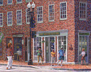 Store Fronts Posters - Summer Afternoon on M Street Poster by Susan Savad