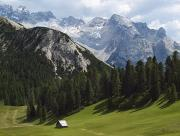 Italian Landscapes Prints - Summer Alpine Meadows And Hut Print by Axiom Photographic
