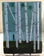 Fused Glass Art Framed Prints - Summer Aspens Framed Print by Lisa Kohn