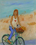 English Bull Terrier Paintings - Summer Bicycling by a Nude Beach by Xueling Zou