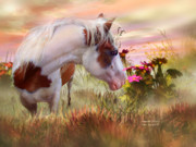 Equine Mixed Media Prints - Summer Blooms Print by Carol Cavalaris