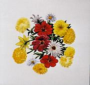 Ceramic Tiles Ceramics Prints - Summer Bouquet Print by Dy Witt