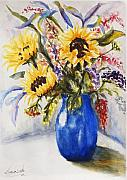 Watercolour Paintings - Summer Bouquet by Lucia Del