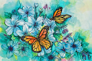 Fiber Art Paintings - Summer Butterflies by Deborah Younglao