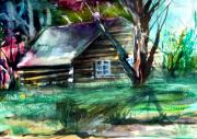 Log Cabin Art Drawings - Summer Cabin by Mindy Newman