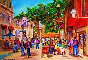 Montreal Streetscenes Painting Prints - Summer Cafes Print by Carole Spandau