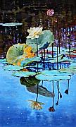 Lotus Pond Paintings - Summer Calm by John Lautermilch