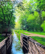 Summer Along The Canal Paintings - Summer Canal Lock by David Bottini