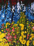Pallet Knife Prints - Summer Colours Print by Shilpi Singh